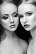 Art makeup two girls hugging, lots of rhinestones of different shapes, beautiful face smooth skin care. Beauty makeup on the face of two women close-up. Professional makeup artist, long beautiful hair