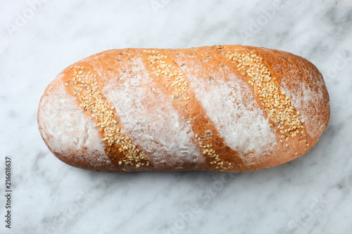 Deurstickers Brood white bread with seeds