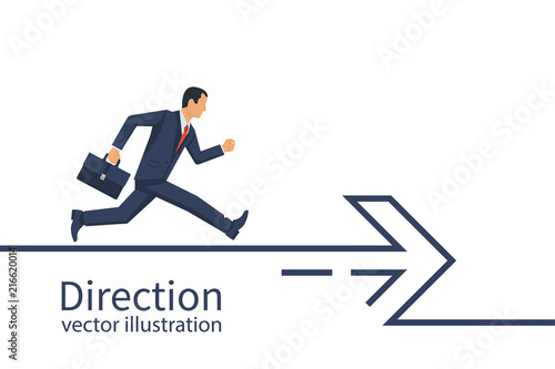 Businessman with a briefcase runs along the direction line Fototapeta