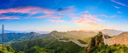 Fotografie, Tablou The Great Wall of China at sunrise,panoramic view