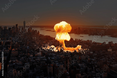 Photo  Nuclear explosion in the city.