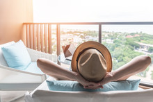 Relaxation Healthy Living Lifestyle Summer Holiday Vacation Of Freelancer Woman Take It Easy Resting In Comfort Chair In Resort Hotel Balcony Having Peace Of Mind And Self Health Quality Balance