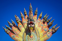Colorful Statue Of The  King Of Nagas Or Serpent King  In The Temple, Thailand.