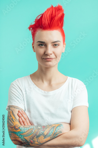 young attractive woman with bright hairstyle Canvas Print