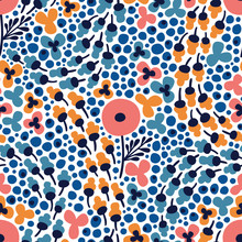 Seamless Pattern Autumn Flowers Field On White Background. Vector Print For Textile, Fabric, Wallpaper