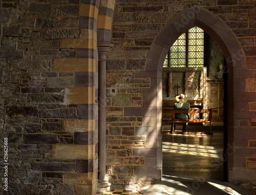 Fotografia, Obraz  Femme en prière dans un cathédrale