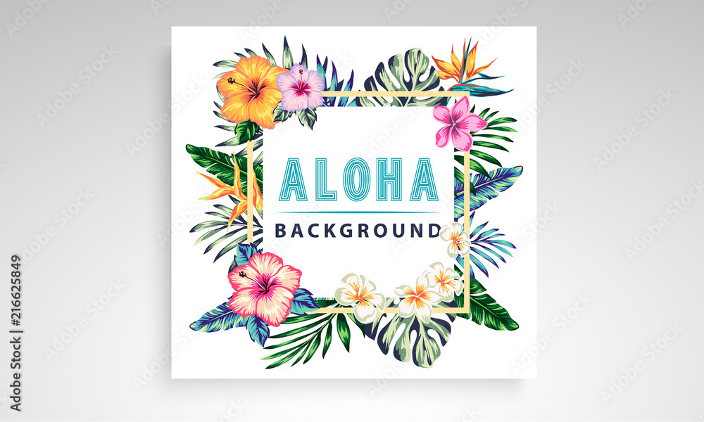 Fototapeta tropical collection with exotic flowers and leaves vector design isolated elements on the white, stock vector tropical a covers hawaiian exotics backgrounds palm leaves with frames use for invitation
