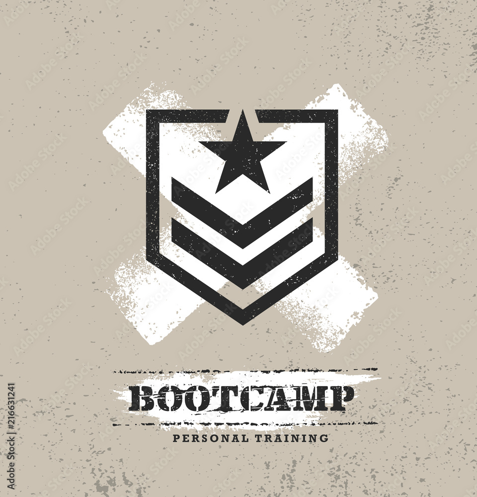 Fototapeta Fitness Body Training Extreme Sport Outdoor Bootcamp Rough Vector Concept. Creative Textured Design Elements