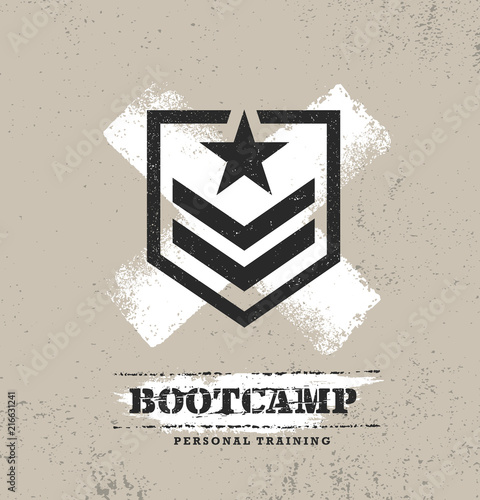 Obraz Fitness Body Training Extreme Sport Outdoor Bootcamp Rough Vector Concept. Creative Textured Design Elements - fototapety do salonu