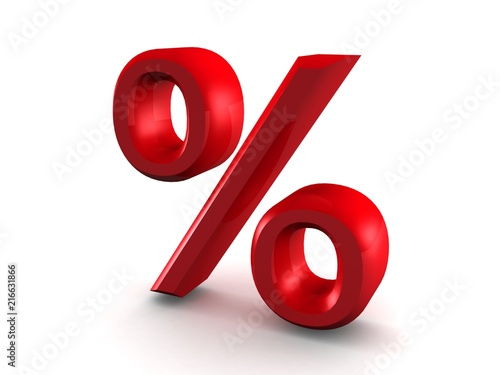 Fotografía  Red Percent Sign Isolated on the White Background