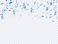 Celebration Background Template With Confetti And Blue Ribbons. Luxury Greeting Rich Card.