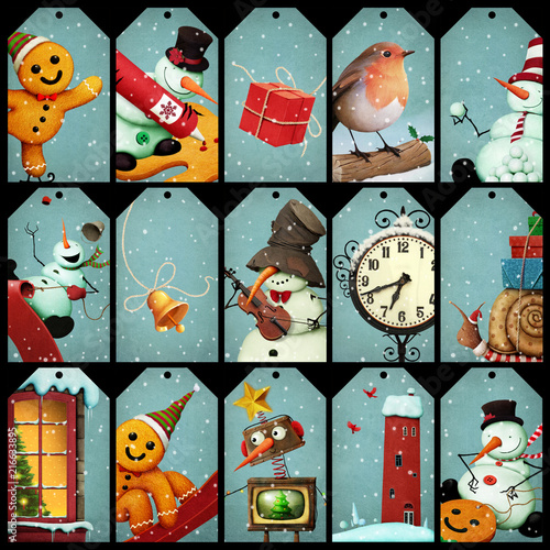 Foto  Collection of holiday greetings tag Christmas and New Year.