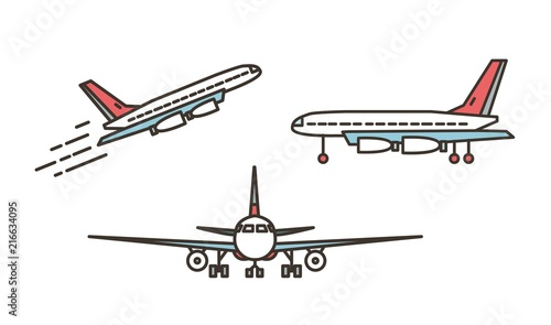 Fotografia  Modern airplane, passenger plane, airliner or jumbo jet taking off or ascending and standing on ground isolated on white background