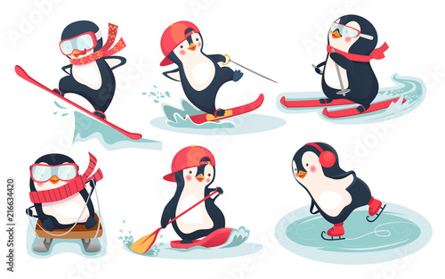 seamless pattern with penguins 01 Fototapete