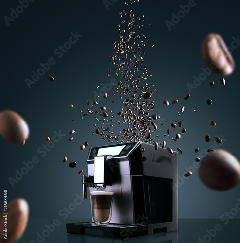 Aluminium Prints Cafe Coffee machine with flying coffee beans across it on dark background. Concept studio shooting. High speed freezing photo