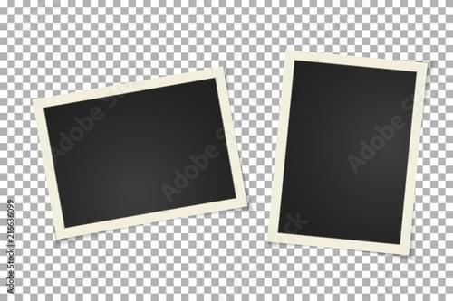 Obraz Old vintage photo frame on transparent background. Horizontal and vertical blank old photography on sticky tape. Scrapbook design. Vector - fototapety do salonu