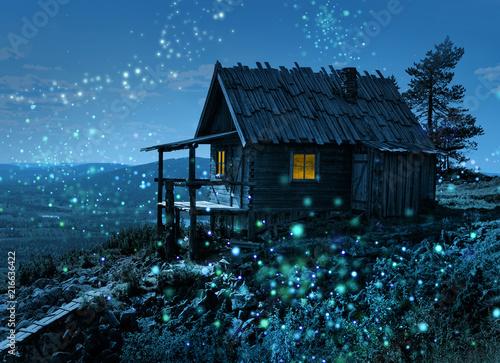 Fotografie, Obraz  Santa's secret cottage with magic lights