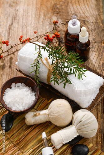 Christmas spa with Composition of treatment and wooden background