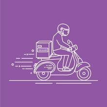 Man Riding Scooter With Carton...