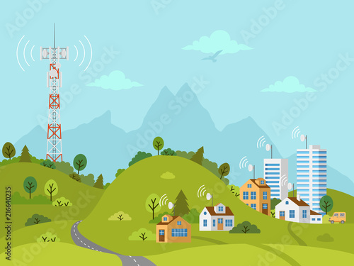 Foto Transmission cellular tower on landscape