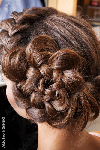 Fotografie, Obraz  braided plait brunette at beauty salon