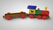 3D illustration of a wooden toy train with an empty car. Toy of wooden elements, transport designer, the idea of childhood, gift, development. Image on white background, isolated.
