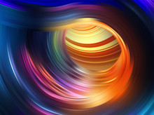 Colorful Flow Background. Realistic Swirl Tunnel.