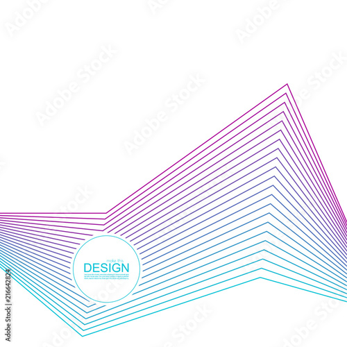 Abstract background with gradient color refracted lines. Futuristic hipster vector illustration. Wall mural