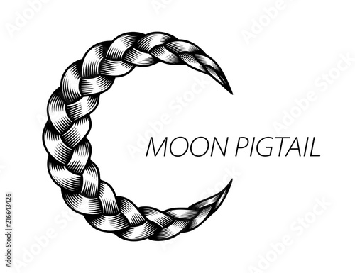 Fotografia, Obraz  Pigtail moon symbol. Simple black curly wavy.
