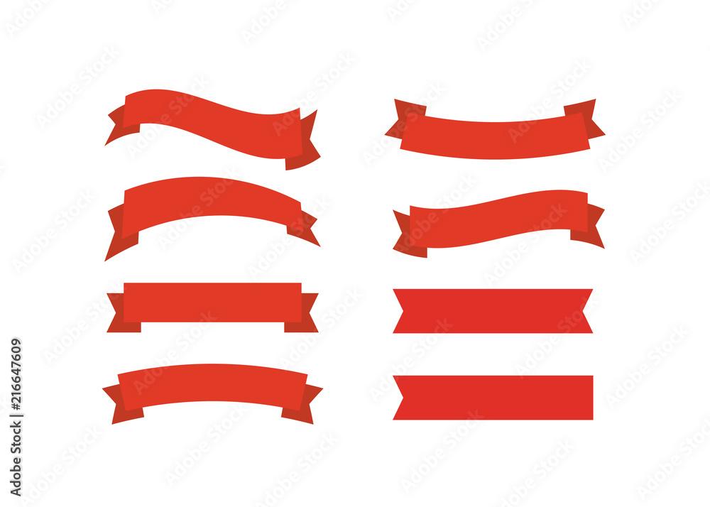 Fototapeta Vector red ribbons. Ribbon banner promotion vector illustration.
