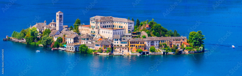 Fototapety, obrazy: amazing unique island in the middle of lake - Orta san Giulio . Piedmont, north of Italy