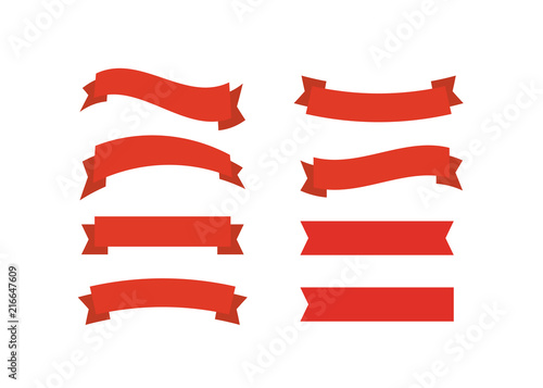 Obraz Vector red ribbons. Ribbon banner promotion vector illustration. - fototapety do salonu