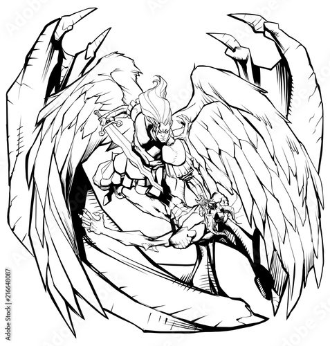 Photo Line art illustration of Archangel Michael defeating Satan.