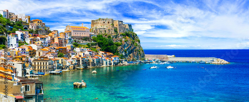 Poster Europa beautiful beaches and towns of Calabria - Scilla. Italian summmer holidays.