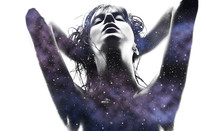Beauty And Sensuality Concept - Double Exposure Of Beautiful Seductive Woman And Purple Galaxy Over White Background