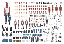 African American Sportsman Or Male Athlete DIY Or Animation Kit. Bundle Of Man's Body Elements, Sports Apparel, Training Equipment Isolated On White Background. Flat Cartoon Vector Illustration.