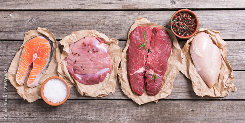 Spoed Foto op Canvas Vlees salmon , beef , pork and chicken