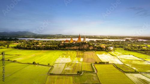 Foto op Plexiglas Asia land high angle view of wat thum saue most popular religion traveling destination in kanchanaburi thailand