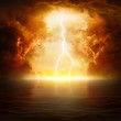 Leinwanddruck Bild - Apocalyptic religious background - hell realm, end of world, judgement day