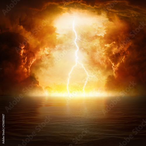 Apocalyptic religious background - hell realm, end of world, judgement day Wall mural