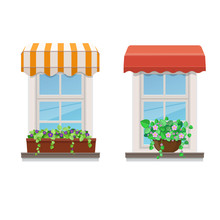Two Windows With Awnings And F...