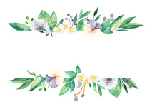 Watercolor Floral Banner On A White Background. Pansies, Anemone, Flowers Of Strawberries, Berries, Leaves, Branches, Foliage. Perfect For Weddings, Design Invitations, Thank You, Postcards.