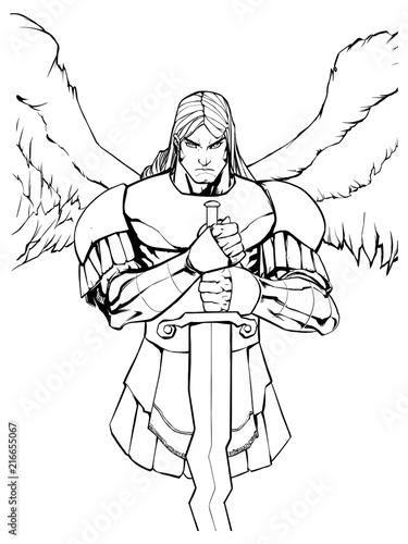 Line art portrait of Archangel Michael holding his sword. Wallpaper Mural