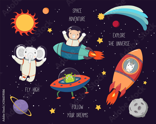 Papiers peints Des Illustrations Set of cute funny elephant, bear, unicorn astronauts, alien in space, with planets, stars, quotes. Hand drawn vector illustration. Line drawing. Design concept for children print.