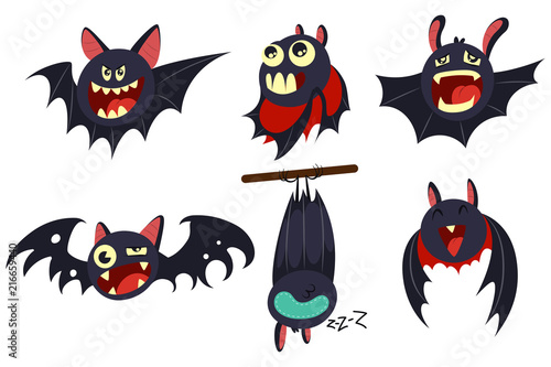 Photographie Vampire bat vector cartoon character set isolated on white background
