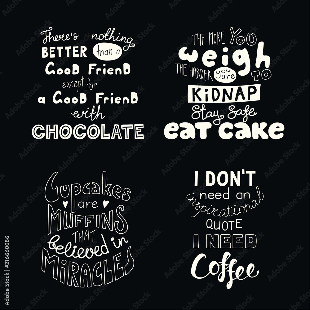 set of hand written funny inspirational lettering quotes about sweets foto poster wandbilder bei europosters