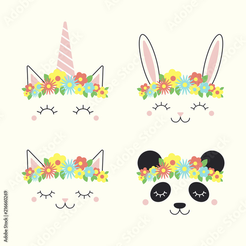 In de dag Illustraties Set of cute funny animal, unicorn, bunny, cat, panda, faces in flower crowns. Isolated objects on white background. Hand drawn vector illustration. Line drawing. Design concept for children print.