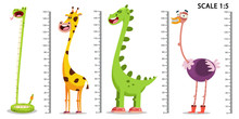 Kids Meter Wall With A Cute Cartoon Giraffe, Dinosaur, Ostrich, Snake And Measuring Ruler. Vector Set Illustration Of An Animal Isolated On A White Background.