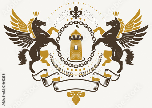 Fototapety, obrazy: Luxury heraldic vector emblem template. Vector blazon created using graceful Pegasus illustration and ancient tower.
