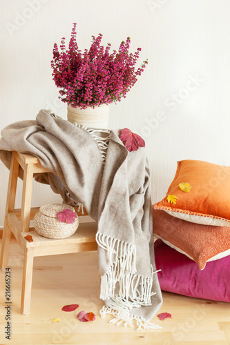 Fotografía colorful cushions throw cozy home autumn mood flower